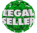 Legal seller marijuana pot licensed grower cannabis d words on a ball or sphere of or leaves as an authorized official or and Stock Photography