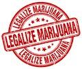 legalize marijuana red grunge round stamp Royalty Free Stock Photo