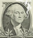 Legalized marijuana george washington with joint smoking a pot leaves along the bottom representing decriminalization and Royalty Free Stock Photo