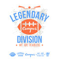 Legendary division rugby emblem and icons college graphic design for t shirt print on a white background Royalty Free Stock Photo