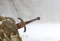 Legendary excalibur sword into the stone in the middle of the fo forest winter Royalty Free Stock Images