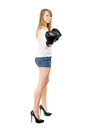 Leggy blond woman happy smiling and posing with boxing gloves Stock Image