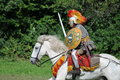 Legionnaire on the horse vexillatio legionis xi claudiae piae fidelis is a roman association specialized stunt shows and roman Royalty Free Stock Photography