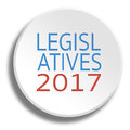 Legislative 2017 in round white button with shadow