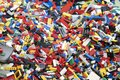 stock image of  Lego  Brick toys mixed on the ground.