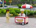 Lego Hot Dog Vendor at Legoland Florida Stock Images