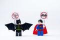 LEGO minifigure Batman and Superman .