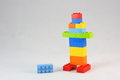 Lego young kids intellectual toys building and assembling with bricks Stock Photos