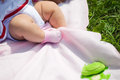 Legs of a baby in warm blanket Royalty Free Stock Photography