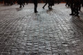 Legs on the cobblestones of red square Royalty Free Stock Image