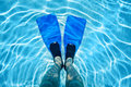 Legs in flippers underwater male Royalty Free Stock Image
