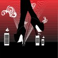 Legs with high heels over the city, surreal vector illustration