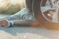Legs of male hit by car Royalty Free Stock Photo