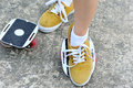 Legs practice freeline skateboard Royalty Free Stock Photo