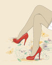 Legs in red shoes and stockings Royalty Free Stock Images