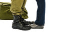 Legs of soldier and his girl at station Royalty Free Stock Photos