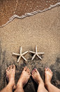 Legs and starfishes Stock Photo