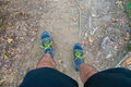 Legs of a trekker in nature Royalty Free Stock Photos
