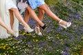 Legs of women line dancing