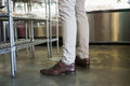 Legs of worker standing