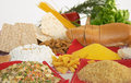 Legumes, cereals, pasta, rice, bread, egg, flour, biscuits, corn polenta Stock Images