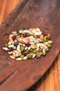 Legumes closeup dried and cereals over wooden board Royalty Free Stock Image
