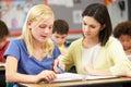 Lehrer reading with female schüler in der klasse Lizenzfreies Stockbild