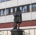 Leibniz denkmal leipzig the monument to german philosopher gottfried wilhelm stands in the campus of university Stock Photo