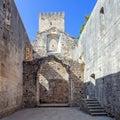 The Leiria Castle Keep seen from the ruins of the Nossa Senhora da Pena Church Royalty Free Stock Photo