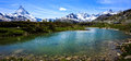 Leisee Lake with Matterhorn and Swiss Alps background, Sunnegga, Rothorn Paradise, one of five lakes destination near Matterhorn Royalty Free Stock Photo