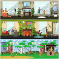 Leisure activity with father vector illustration in flat style