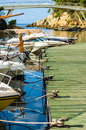 Leisure boats moored and ready to sail into the horizon Royalty Free Stock Photos