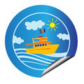 Leisure cruise sticker blue with boat over sea isolated on white Royalty Free Stock Photo