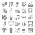Culture and art, icons, shading pencil, gray, vector. Royalty Free Stock Photo