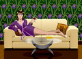 Leisure girl a digital illustration featuring a relaxing at home with a glass of wine and a book Stock Photos