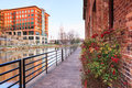 Leisure path in downtown greenville south carolina along the reedy river the city of with water reflection Royalty Free Stock Image