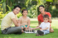 Leisure time a big family spending free together outside Stock Photography