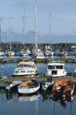 Leisureboats simrishamn guest harbour in scania sweden Stock Photography