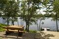 Leisuse place private pier along the river of daugava in latvia Stock Photo