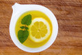 Lemon balm tea cup on table Royalty Free Stock Images