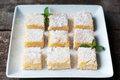 Lemon bars fresh baked meyer with powdered sugar Royalty Free Stock Image