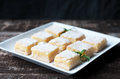 Lemon bars fresh baked meyer with powdered sugar Royalty Free Stock Photos