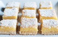 Lemon bars fresh baked meyer with powdered sugar Stock Photography