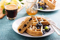 Lemon blueberry waffles with berries Royalty Free Stock Photo
