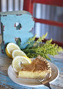 Lemon buttermilk pie a delectable wedge of with wedges with country background Stock Photography