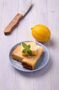 Lemon cake and mint sliced Stock Image