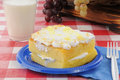 Lemon cake on a picnic table Stock Image