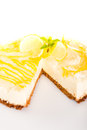 Lemon cheesecake delicious pie baked dessert Stock Photos