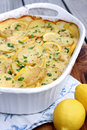 Lemon chicken potato casserole with potatoes and Royalty Free Stock Photo