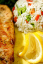 Lemon chicken with rice Royalty Free Stock Image
